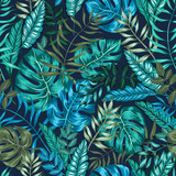 seamless graphical artistic tropical nature jungle pattern, modern stylish foliage background allover print with split leaf, philodendron, palm leaf, fern frond - 121941450