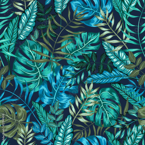Fototapeta seamless graphical artistic tropical nature jungle pattern, modern stylish foliage background allover print with split leaf, philodendron, palm leaf, fern frond