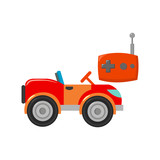 RC car icon in cartoon style isolated on white background. Play garden symbol stock vector illustration.
