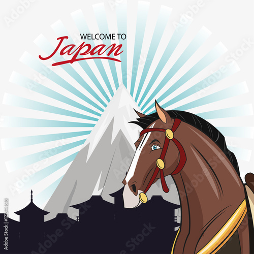 Horse cartoon icon. Animal welcome to japan and asian culture theme. Colorful design. Vector illustration