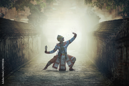 Poster Khon is traditional dance drama art of Thai classical masked, this performance i