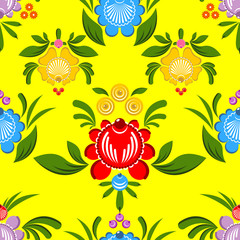 Gorodets seamless pattern. Floral ornament. Russian national fol