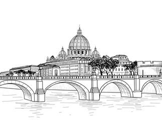 Rome cityscape with St. Peter's Basilica. Italian city famous landmark