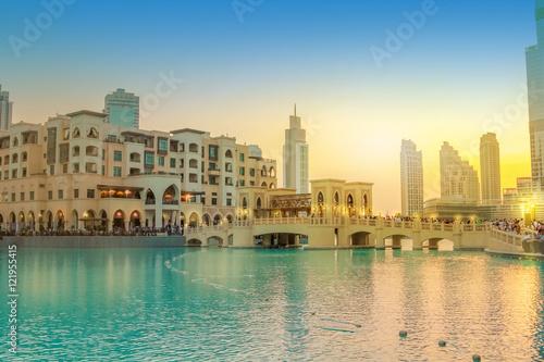 Scenic view of Burj Khalifa Lake, a pool where they dance the Dubai Fountain Poster