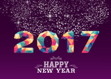 Fototapety New Year 2017 colorful low poly card design