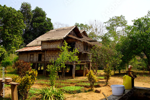 Poster Traditional Shan house on stilts in Hsipaw
