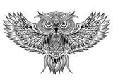 Vector hand drawn Owl. Black and white zentangle art. Ethnic pat