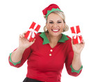 blond elf female holding present