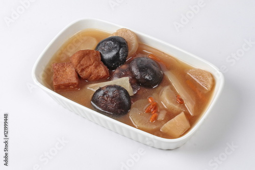 """Chinese Vegetable festival  food as streamed Chinese medicine herb soup with tofu and Shiitake,  """"J food festival"""""""