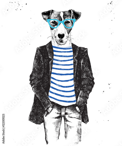 Hand drawn dressed up dog in hipster style - 122001023