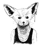 Hand drawn dressed up fennec in hipster style
