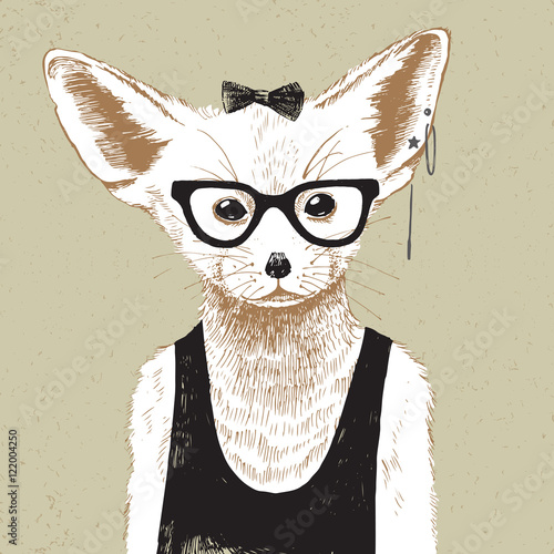 Hand drawn dressed up fennec in hipster style - 122004250