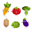 Cartoon funny vegetable characters isolated on white background vector illustration. Funny vegetable face icon.
