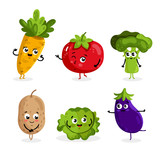 Cartoon funny vegetable characters isolated on white background vector illustration. Funny vegetable face icon. - 122005439