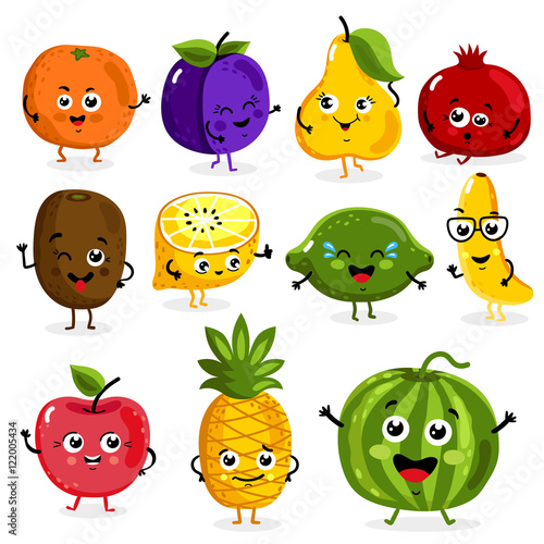 Cartoon funny fruits characters isolated on white background vector illustration. Funny fruit face icon.