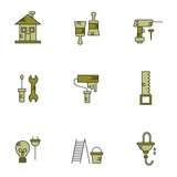 Home repairs, plumbing, electrical - vector icon set