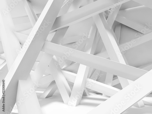 Fototapety, obrazy :  Chaotically oriented beams in empty room. 3d