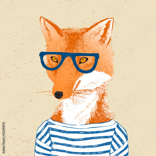 Hand drawn dressed up fox in hipster style - 122011876