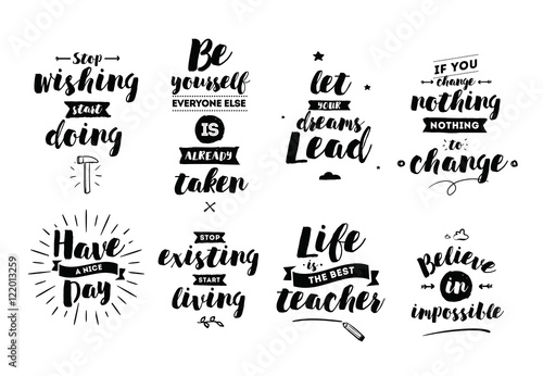 Papiers peints Positive Typography Inspirational quotes set.