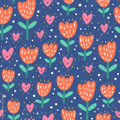 Cotton fabric Valentine flowers and hearts seamless pattern