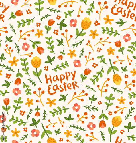 Cotton fabric Happy Easter flower seamless pattern