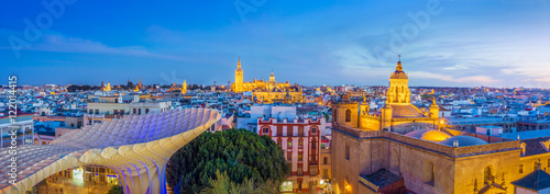 Facing Seville from above