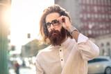 Model with long hair and beard