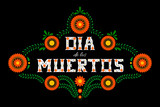 Day of the dead vector illustration poster. Mexican flowers traditional embroidery with typography letters. Floral lettering