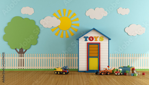 Colorful Playroom with wooden house