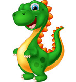 Fototapeta Dinusie - Cute green dinosaur cartoon © dreamblack46