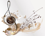 Abstract coffee music with cups of coffee, splashes, butterflies, notes.