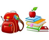 Illustration of bag with stack of book and apples
