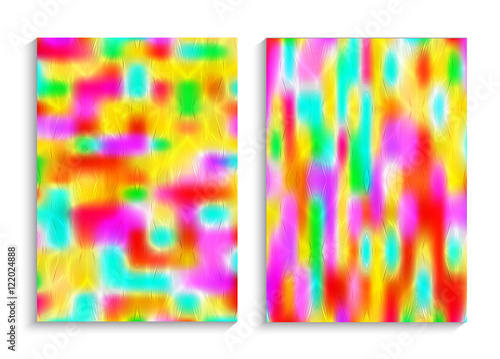 Obraz Blurred bright multicolor backgrounds. Cheerful festive design. Creative texture for book cover, flyers, brochures, posters. Business print template. Set patterns for creative design. Vector A4 size.