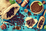Food background with roasted coffee beans and chocolate