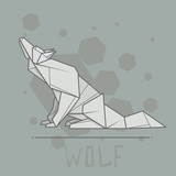 Vector illustration paper origami of wolf.