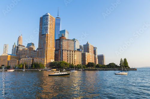 Scenic late afternoon view of the Downtown Manhattan skyline from the Hudson River