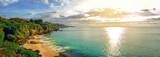 Fototapety Panoramic seaview with picturesque beach at sunset. Tegalwangi beach, Bali, Indonesia