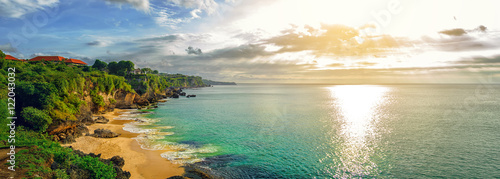 Tuinposter Bali Panoramic seaview with picturesque beach at sunset. Tegalwangi beach, Bali, Indonesia