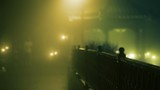 Night. Thick fog. A guy and a girl walking in the park. Slow motion