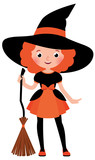 Little red haired girl with a broom in Halloween witch costume o