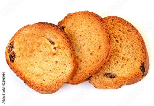 Poster Sweet dry hard bread chucks crackers with raisins sweet snack