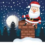 santa sitting on chimney. landscape night design vector illustration