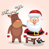 card cute santa claus sit reindeer isolated vector illustration
