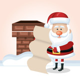 cartoon santa claus with list and chimney snow isolated vector illustration