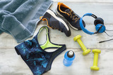 Sports goods on wooden background