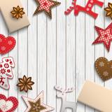 Christmas motive, small scandinavian styled decorations lying on wooden desk, illustration
