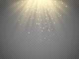 Light effect, sun rays, beams on transparent background. Vector