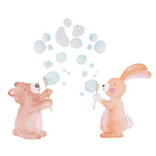 Cute Animal Watercolor Illustration Bubbles Water Kids Baby Handpainted Animals  Sticker