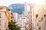 Beautiful cityscape view on the modern residential buildings and hotels in Monte Carlo city in Monaco