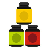 Sports supplements icon in flat style isolated on white background. Add to food symbol vector illustration